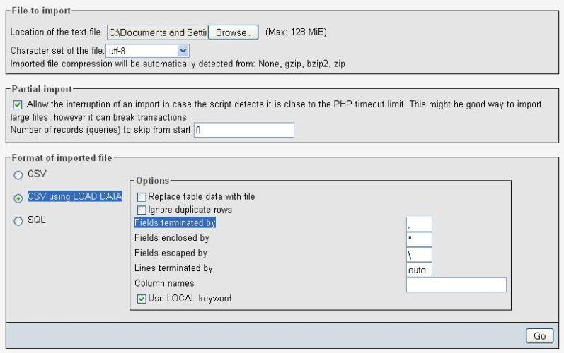 Importing .csv file into sql via phpmyadmin