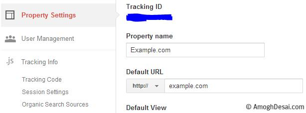 Correct Google Analytics setting