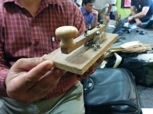 Morse key homebrewed by OM Cyril VU2AY