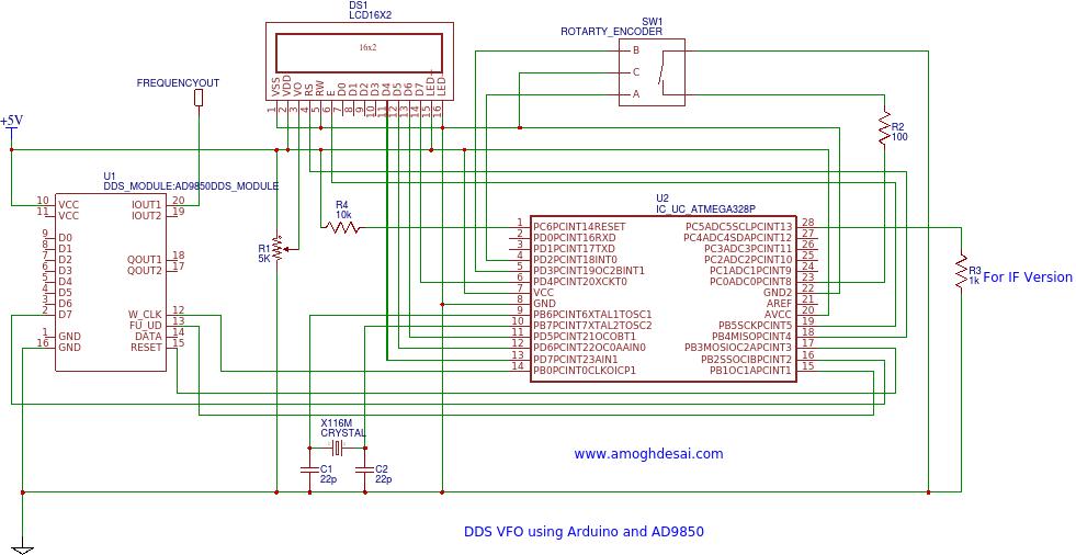 DDS VFO Using AD9850 and Atmega238P Arduino | AmoghDesai com