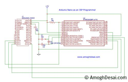Circuit Diagram for Arduino Nano As ISP Programmer and Bootloader
