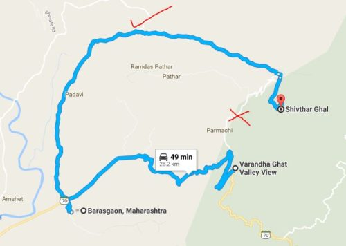 Drive till Barasgaon and take a right turn. (there is a big board pointing towards Shivthar Ghal)