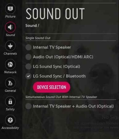 LG Web OS smart TV and Bluetooth headphones